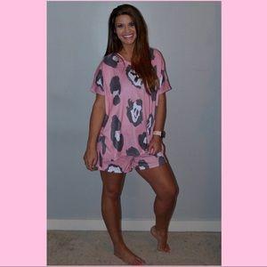 Pink & Gray Leopard Loungewear/ Pajamas S-L